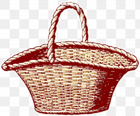 Hand-painted Vintage Red Basket - Picnic Basket Drawing PNG
