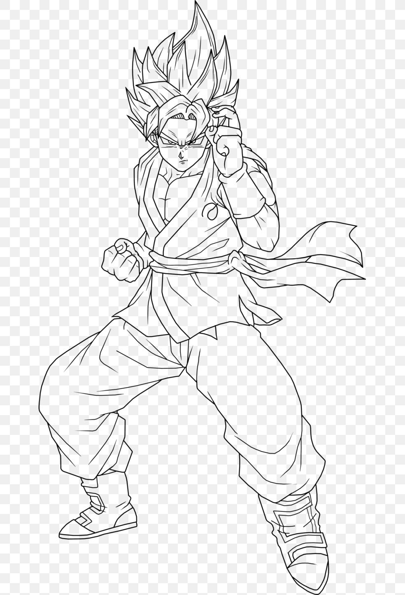 Line Art Goku Super Saiyan Drawing Png 663x1204px Line