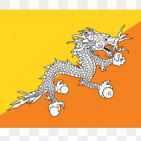 Flag - Flag Of Bhutan National Flag Flags Of Asia PNG