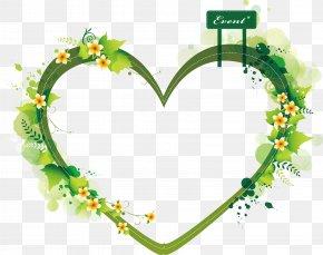 Green HeartShaped Summer Plant Vector Border - Euclidean Vector Heart Clip Art PNG