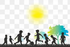 Vector Happy Childhood Silhouette - Child Silhouette Play Illustration PNG