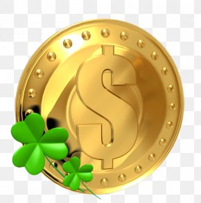 Saint Patrick's Day - Saint Patrick's Day Gold Coin Shamrock Clip Art PNG