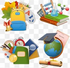 Vector Cartoon School Supplies - Stock Illustration School Icon PNG