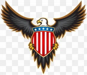 Eagle With American Badge Clip Art Image - Bald Eagle Stock Illustration Clip Art PNG