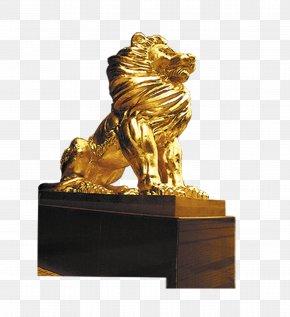 Golden Lion Sculpture - Lion Stone Sculpture PNG