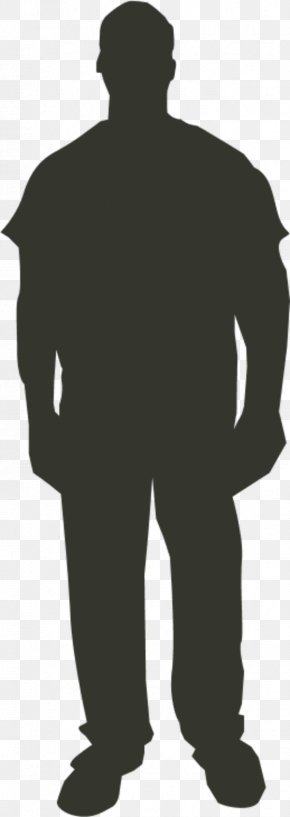 Man Standing Silhouette - Person Outline Clip Art PNG