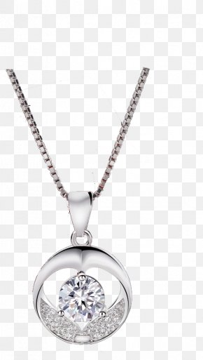 Real Shot Simple Silver Necklace - Earring Necklace Diamond Pendant Silver PNG