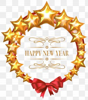 Happy New Year Stars Oval Decor PNG Clipart Image - New Year's Day New Year's Eve Clip Art PNG
