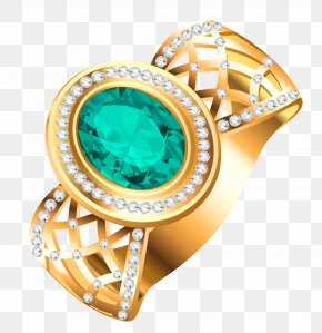 Golden Ring With Diamonds Clipart Picture - Jewellery Ring Gemstone Clip Art PNG
