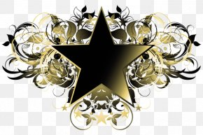 Gold Five-pointed Star - Ornament Collage Clip Art PNG