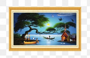 Home Decoration Oil Painting - Paper Painting Bedroom Wall Wallpaper PNG