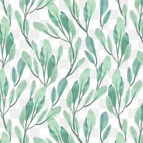 Light Green Leaves Background - Teal Pin Motif Pattern PNG