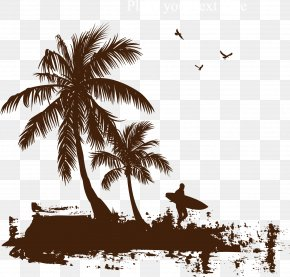 Beach Coconut Tree - Printed T-shirt Coconut Arecaceae PNG
