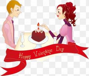 Cartoon Couple Romance - Valentines Day Romance Love Wallpaper PNG