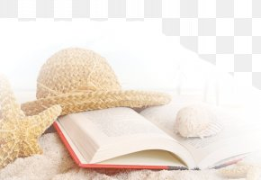 Sea Beach Summer Hat Starfish Conch Books - All The Light We Cannot See Book Summer Beach Wallpaper PNG