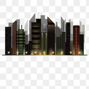 Vector City Night View Architecture City Night Sky PNG