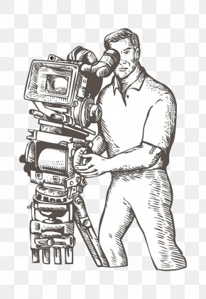 Hand-painted Photographer - Film Director Drawing Camera Operator Illustration PNG