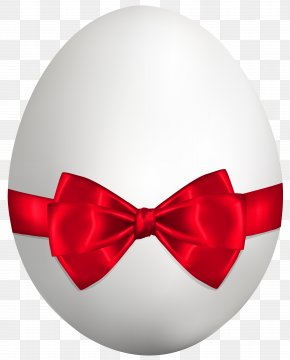 White Easter Egg With Red Bow Clip Art Image - Easter Bunny Euclidean Vector Easter Egg PNG
