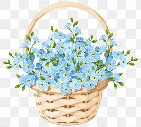 Flower Basket Transparent Clip Art Image - Floral Design Flower Basket Blue PNG