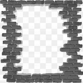 Black Simple Brick Wall Frame - Brick Wall Wallpaper PNG