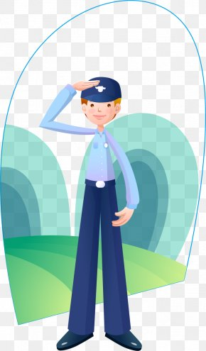 Salute Male Police - Salute Police Officer Cartoon Illustration PNG