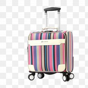 Striped Suitcase - Hand Luggage Suitcase Baggage Travel PNG