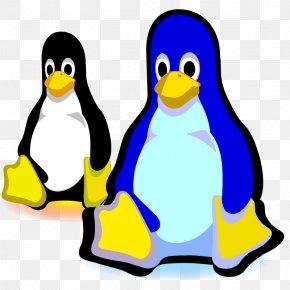 Black Blue Cartoon Penguin - T-shirt Tux Linux Penguin Systemd PNG