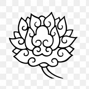 Black And White Lotus - Black And White Clip Art PNG