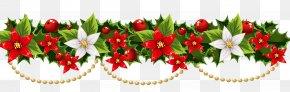 Vector Wreath - Christmas Decoration Poinsettia Garland Clip Art PNG