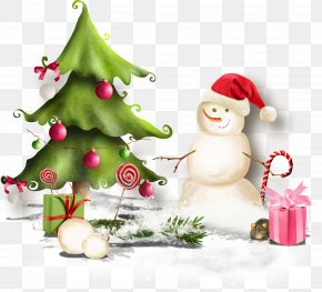 Christmas Tree - Christmas Tree Snowman Ded Moroz New Year Clip Art PNG