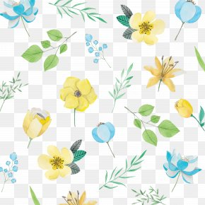 Yellow Watercolor Flower - Watercolor Painting Flower Blue Pattern PNG