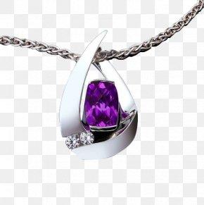 Purple Gemstone Pendant - Amethyst Pendant Necklace Birthstone Garnet PNG