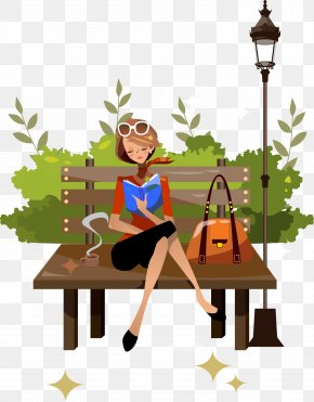 Vector Beautiful Park Reading - Woman Reading Illustration PNG