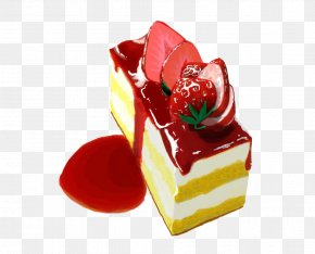 Strawberry Mousse Cake Painted Material - Mousse Strawberry Cream Cake Gelatin Dessert Petit Four Frozen Dessert PNG