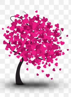 Pink Heart Tree - Heart Tree Valentines Day Illustration PNG