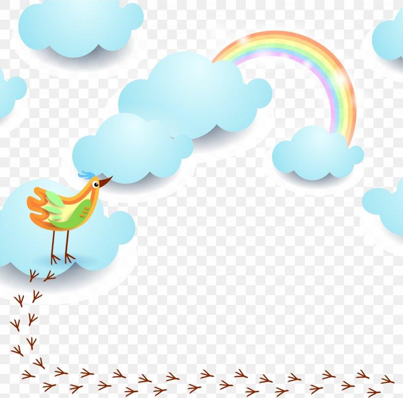 Bird Rainbow Euclidean Vector Sky, PNG, 1795x1773px, Aqua, Beak, Border, Cartoon, Clip Art Download Free