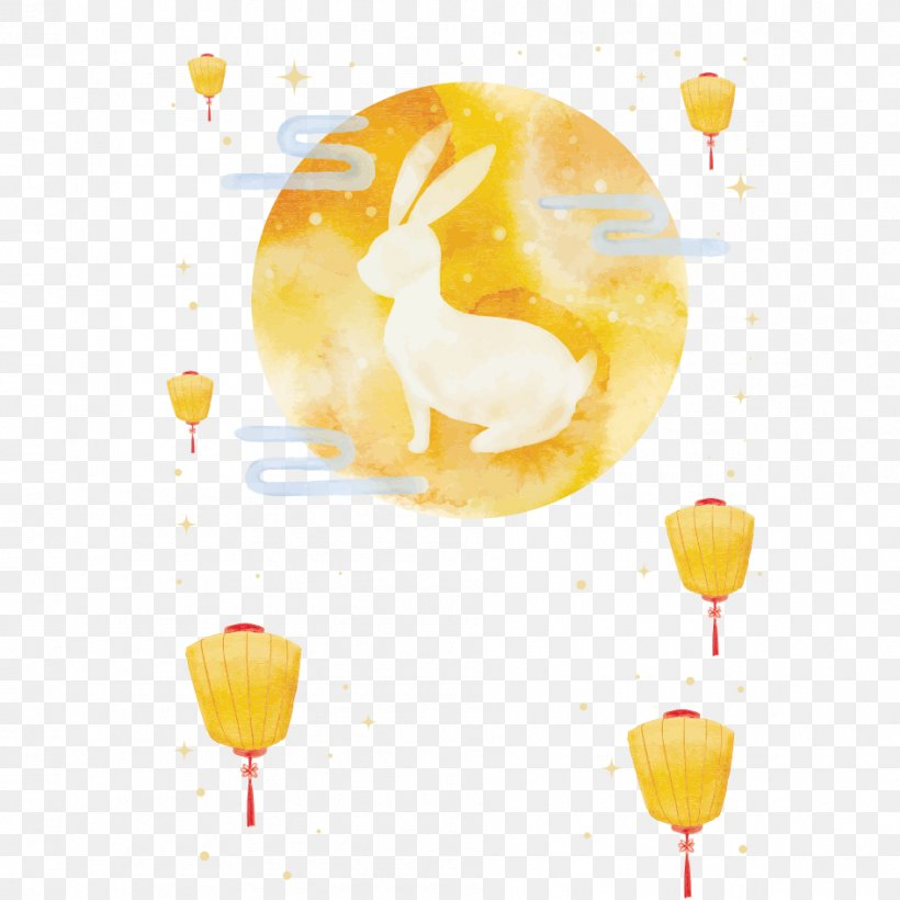 Mooncake Mid-Autumn Festival Moon Rabbit, PNG, 945x945px, Mooncake, Balloon, Cartoon, Chang E, Food Download Free