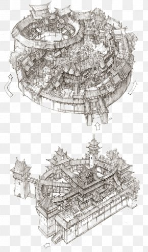 Chinese Style Building Model Artwork - South Korea Concept Art Architecture Drawing PNG