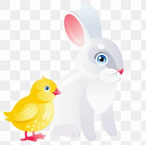 Easter Chicken And Bunny Transparent Clipart - Domestic Rabbit Easter Bunny Duck PNG