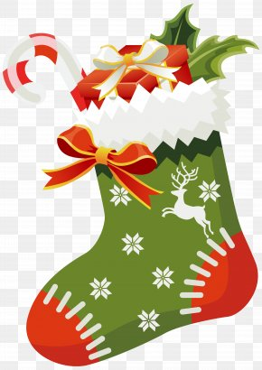 Christmas Green Stocking Clipart Image - Christmas Stocking Santa Claus Clip Art PNG