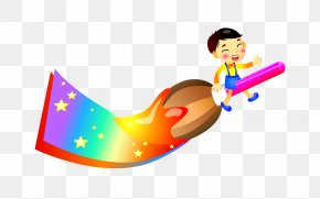 Color Brush Cartoon Child Riding - Drawing Cartoon Painting Child PNG