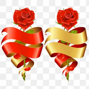 Red Roses With Ribbon PNG