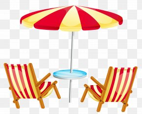 Transparent Beach Umbrella With Chairs Clipart - Deckchair Beach Stock Photography Clip Art PNG