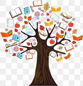 Color Book Knowledge Tree Vector Illustration - Book Tree Reading Clip Art PNG