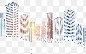 Geometric Squares Particles Pixelated City Building PNG
