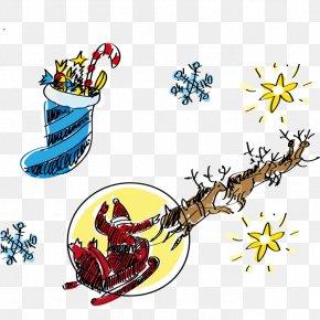 Hand-painted Santa Claus Elk Back And Socks - Santa Claus Christmas Tree Drawing PNG
