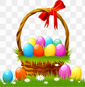 Easter Basket With Eggs And Grass - Easter Bunny Easter Egg Easter Basket Clip Art PNG