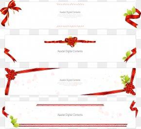 Red Ribbon Horizontal Text Box Vector Material - Ribbon Adobe Illustrator Euclidean Vector PNG
