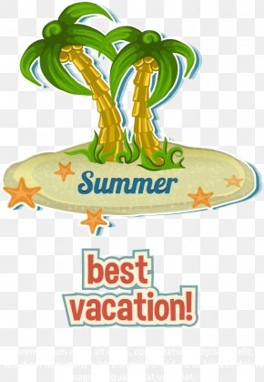 Vector Coconut Trees - Cartoon Summer Illustration PNG
