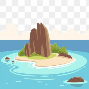 There Are Mountains On The Island - Tropical Islands Resort Cartoon Illustration PNG